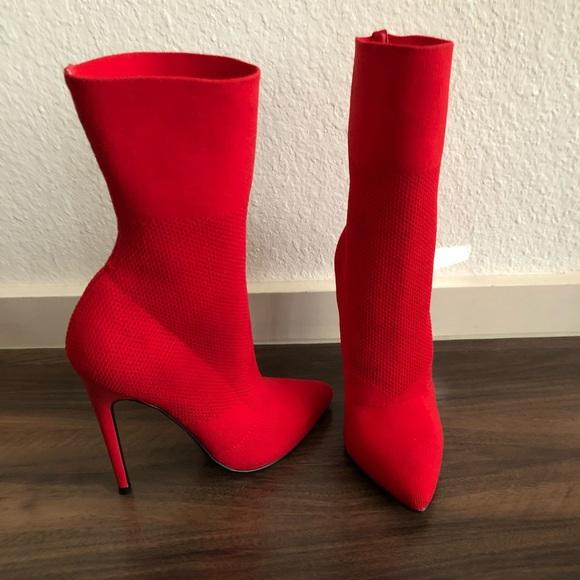 Luna compacto Pronunciar  Steve Madden Shoes   Steve Madden Century Red Knit Stiletto Boots 55    Poshmark